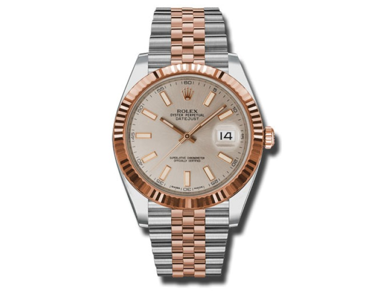 Rolex Two-Tone DateJust II 126331 suij Rose Gold Sundust Index Dial Watch