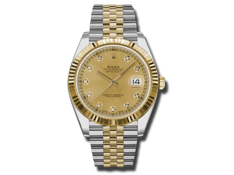 Rolex Two-Tone DateJust II 126333 chdj Yellow Gold Champaign Diamond Dial Watch