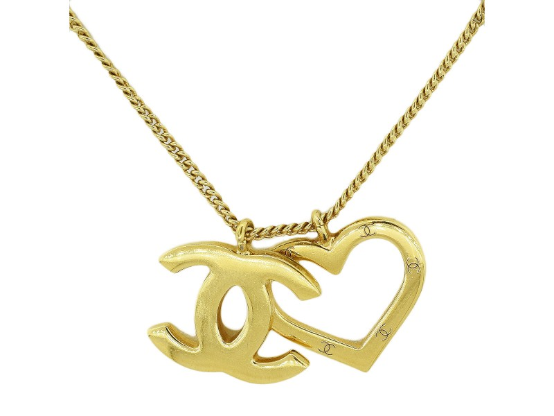 Gold Chanel CC and Heart Pendant Gold Necklace