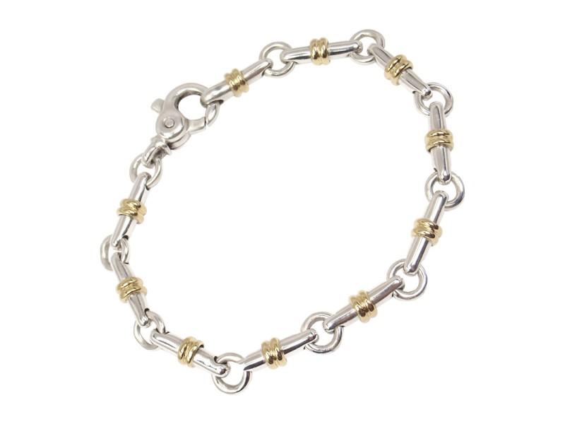 Tiffany & Co Sterling Silver 18K Yellow Gold Bar Link Vintage Bracelet