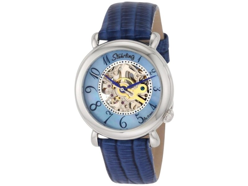 Stuhrling Wall Street 108.1215C8 Stainless Steel & Leather MOP 35mm Watch