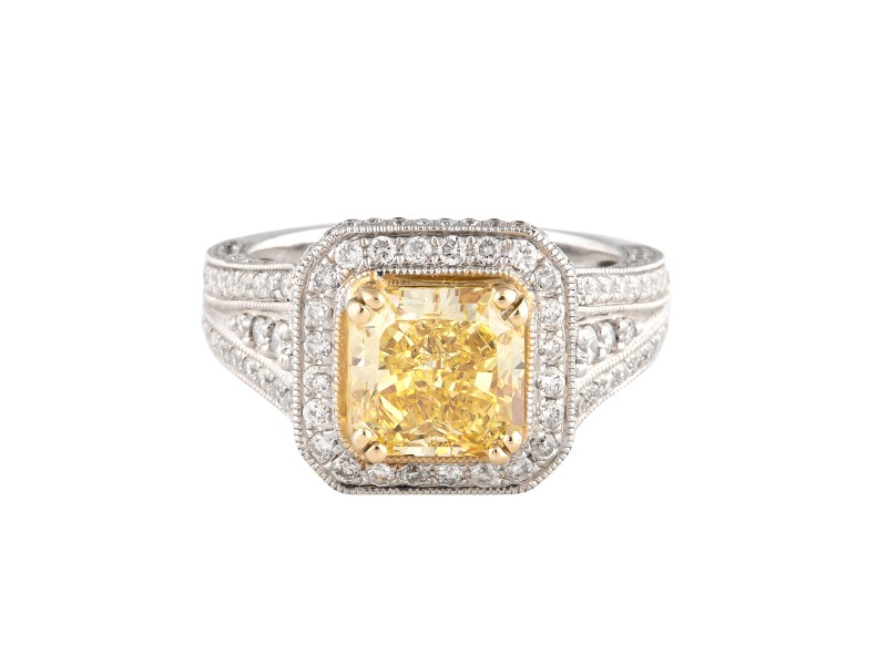14k White Gold Canary And Diamonds Ring