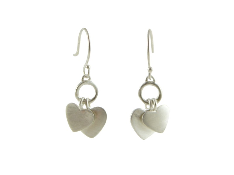 ME & RO Sterling Silver Double Heart Drop Dangle Hook Earrings