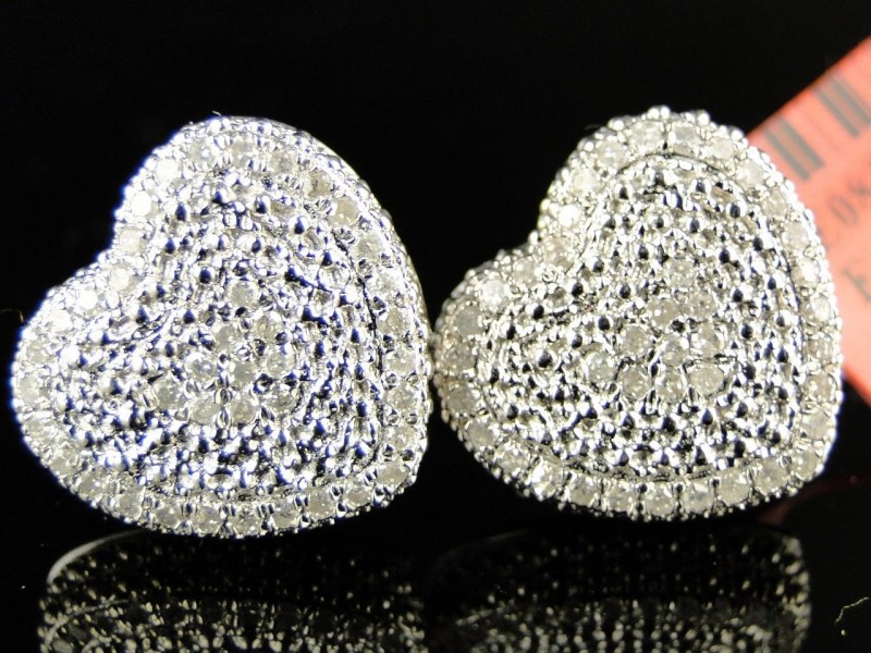 Ladies Womens White Gold Finish Heart 3D Diamond Studs Earrings