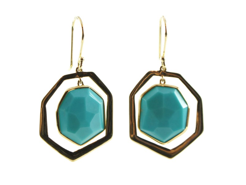 Ippolita 18K Yellow Gold Modern Rock Candy Turquoise Frame Drop Dangle Earrings
