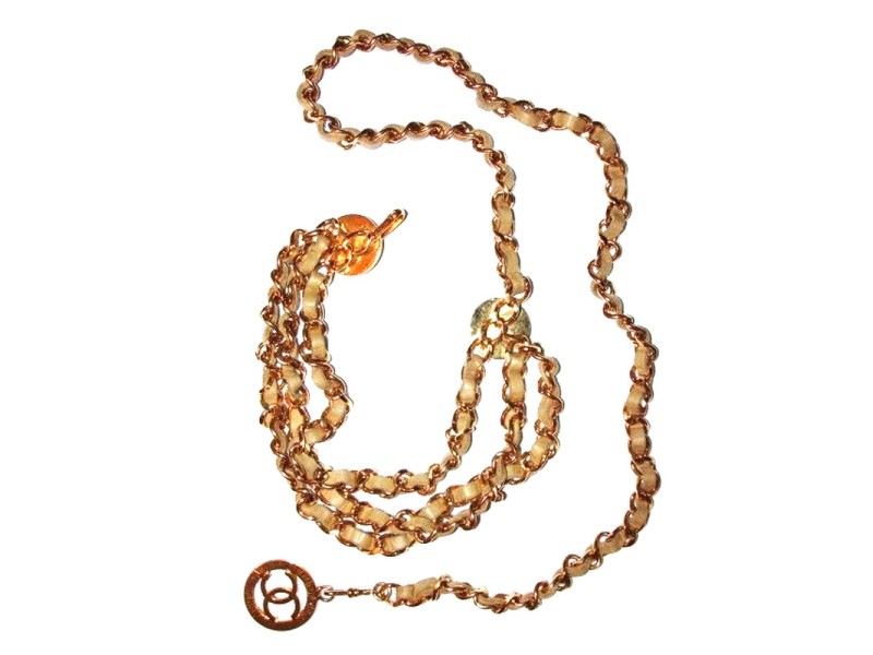 Chanel 18k Gold Plated Beige Leather Monogrammed Coin Triple Strand Necklace