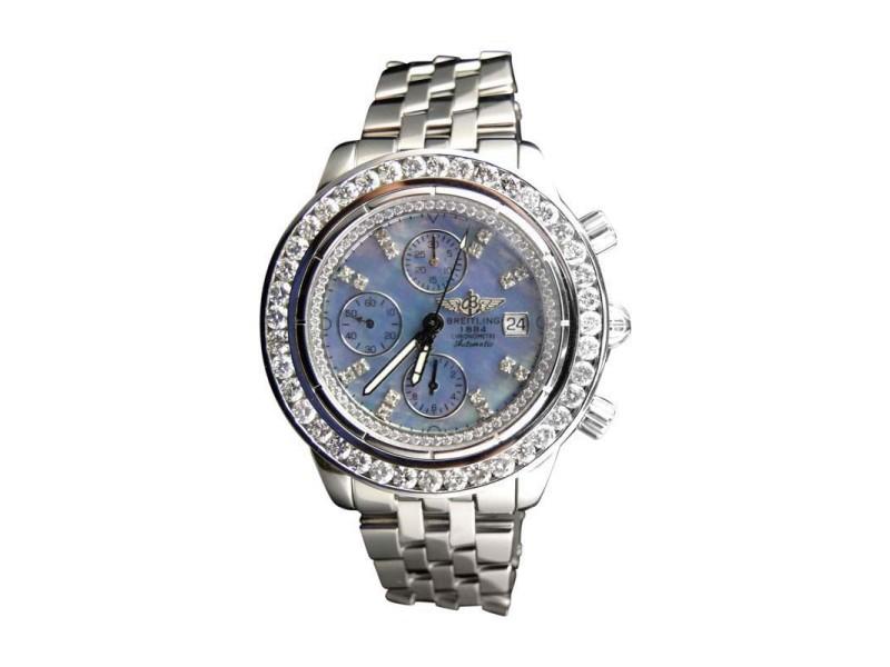 Breitling Custom Mens Windrider Evolution A13356 45 mm Diamond Watch