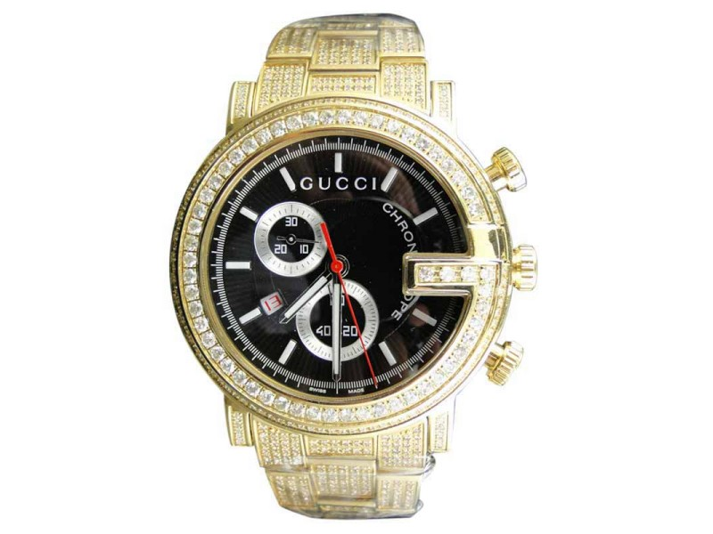 Gucci Ya101334 New Custom Mens 101 G Gold PVD Real 44mm Diamond 8.85 Ct Watch