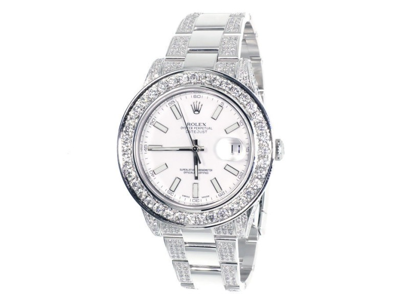 Rolex Custom 41 MM White DateJust II 2 With Genuine 12.5 Ct Diamonds Mens Watch