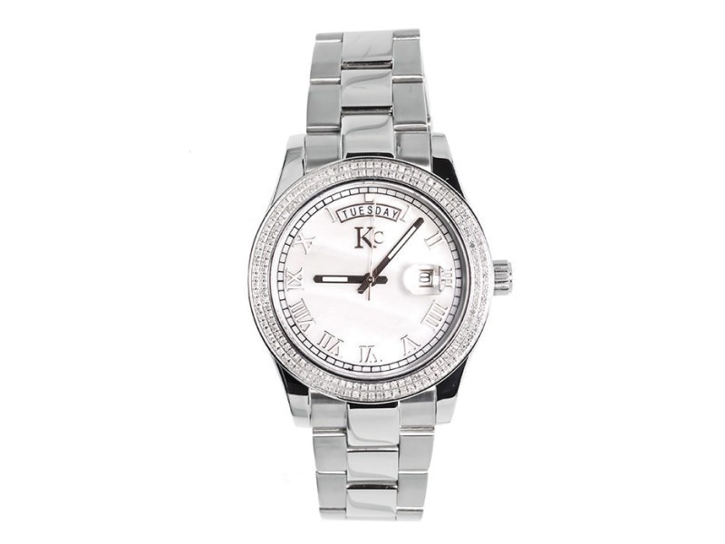 Techno Com KC White Gold Stainless Steel 41mm Day-Date Diamond Watch