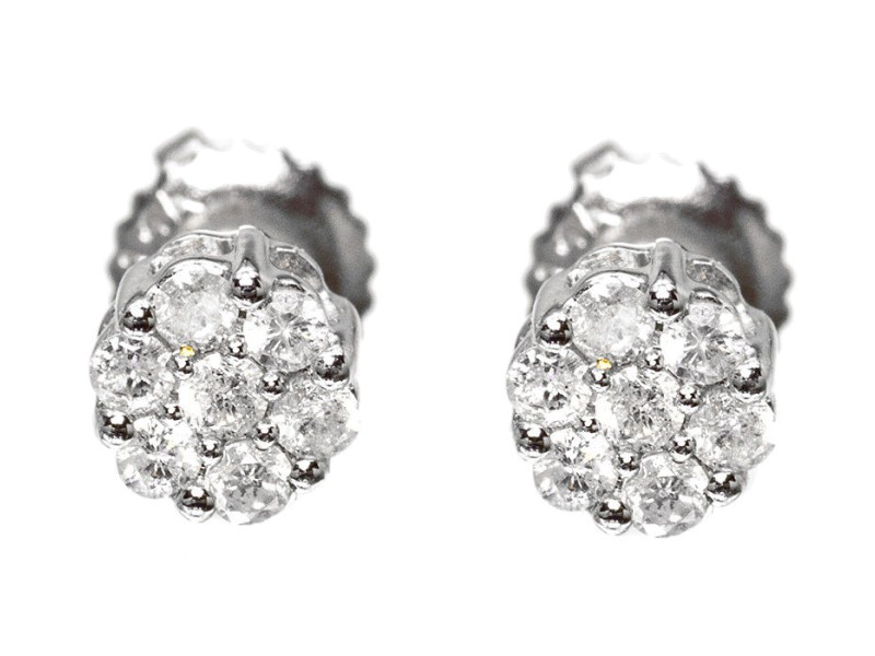 White Gold Finish Sterling Silver Mens/Ladies Round Diamond Flower Cluster Studs Earrings 5mm