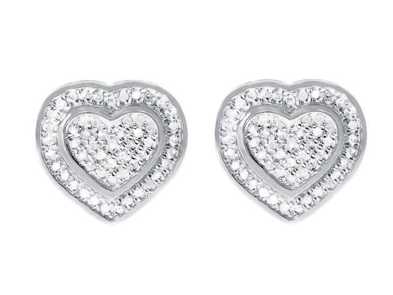 White Gold Finish Sterling Silver Ladies Pave Diamond Dual Heart Studs Earrings