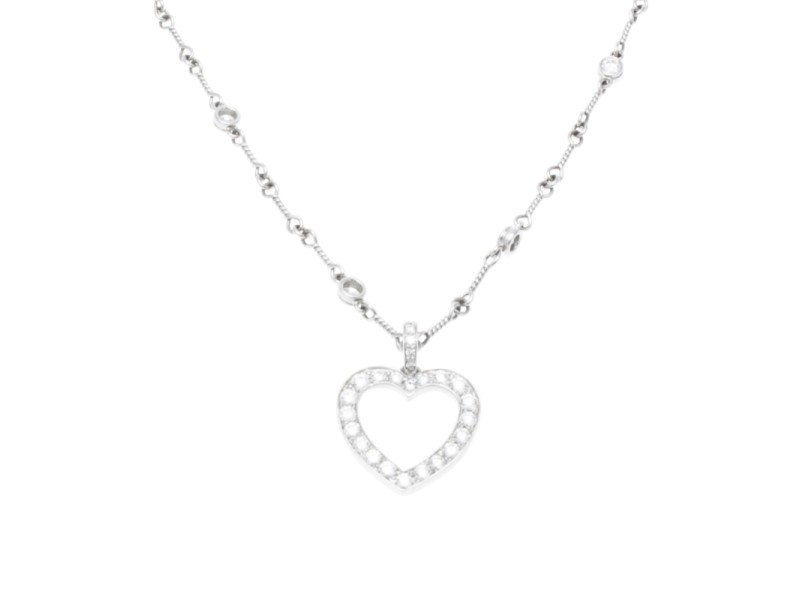 Tiffany & Co. Platinum Diamond Open Heart Pendant Necklace