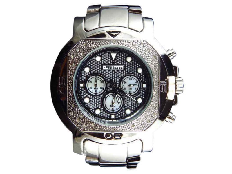 Jojo/Jojino XL  MJ-1225 Big Face Stainless Steel 55 MM 0.25 Ct Diamond Mens Watch