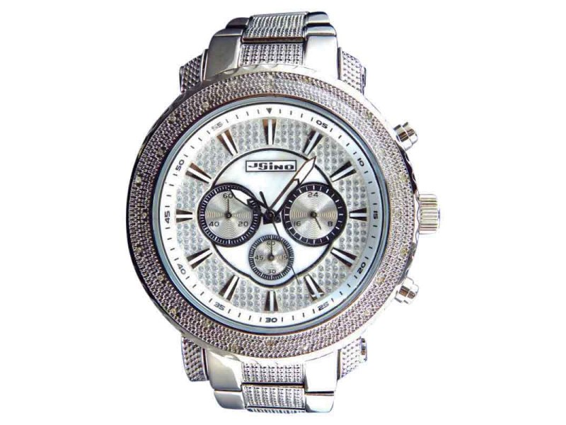 Jojo/Jojino Mens XL Big Face Stainless Steel 52 MM 0.25 Ct Diamond MJ-1212 Watch
