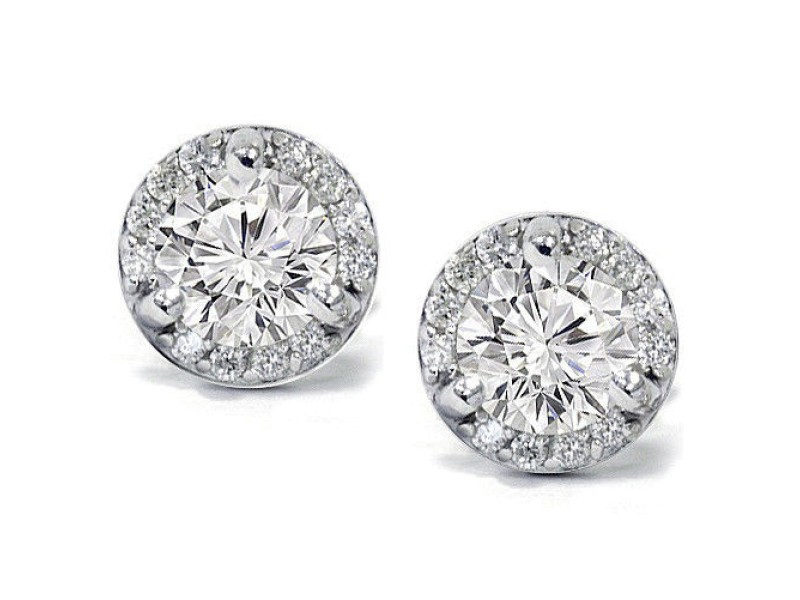 14K White Gold 0.85CT Pave Halo Diamond Cluster Studs Earrings