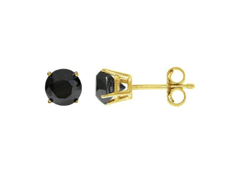 14K Yellow Gold 2.00ct Black Diamond Stud Earrings
