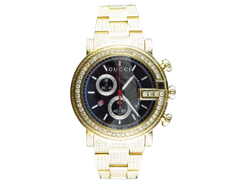 Gucci 101 G Gold PVD Real 44mm Diamond YA101334 Watch