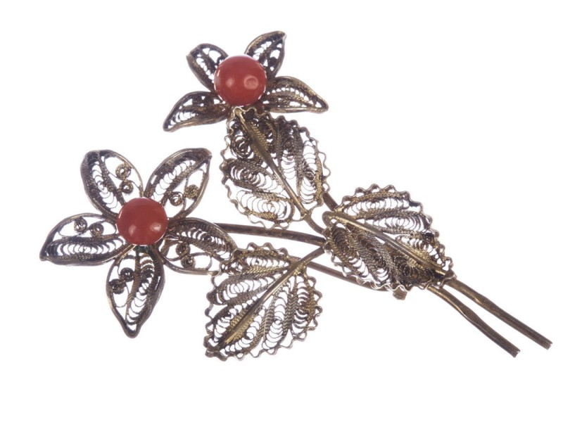 Filigree Red Coral Flower Brooch