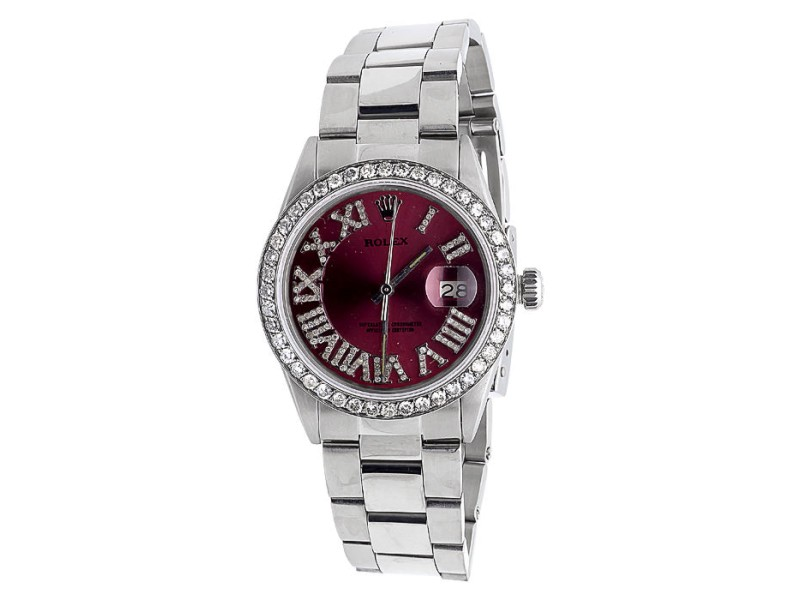 Rolex Datejust Oyster Red Roman Stainless Steel 3.5 Ct Diamond Mens Watch 36mm