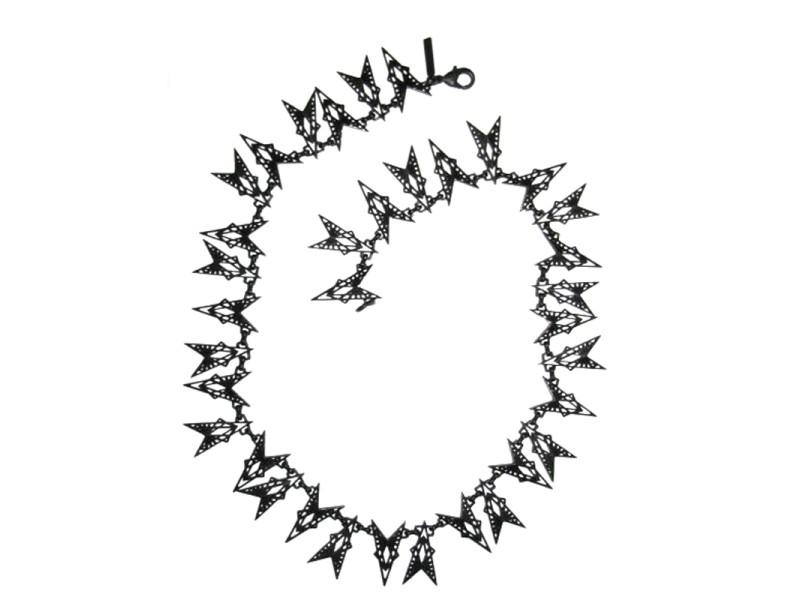 Eddie Borgo Black Enamel Fractured Heart Necklace