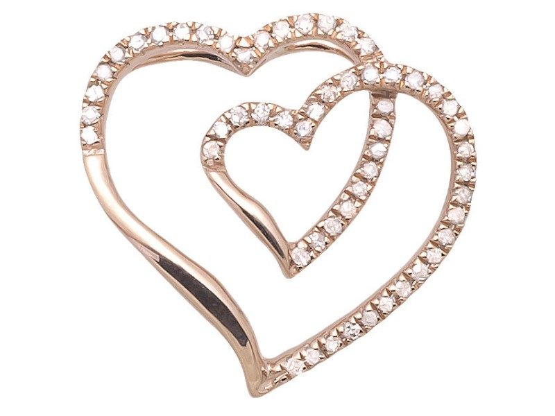 14K Rose Gold Genuine Real Diamond Ladies Interlocking Heart Shape Pendant