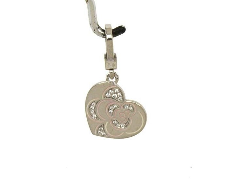 Chanel 18K White Gold and Pink Enamel with 0.10ct Diamond Floral Heart Pendant