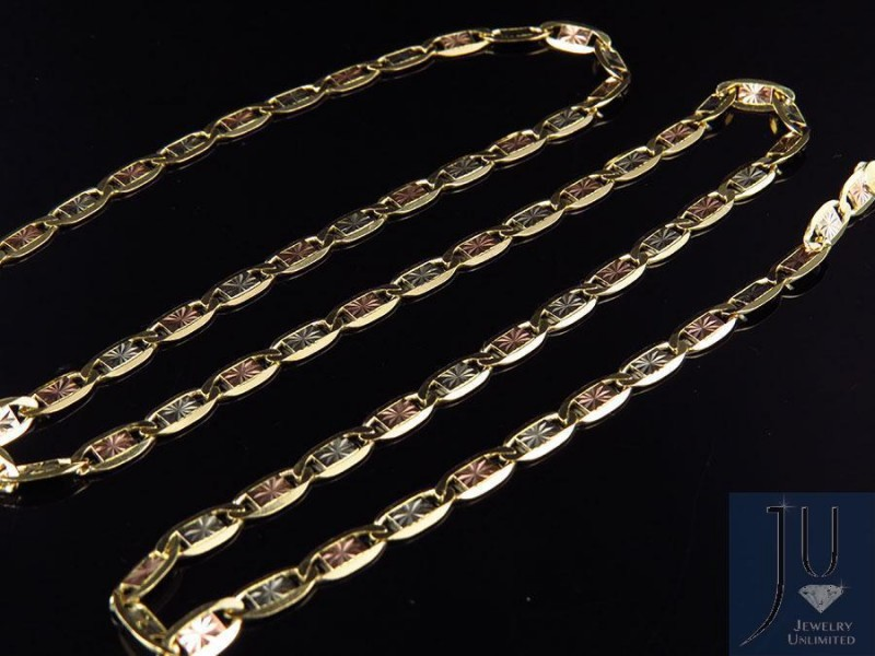 10K Tri-Tone Gold Valentino Style Chain Necklace