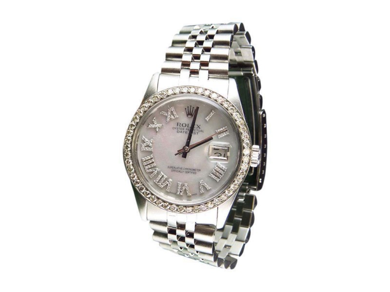 Rolex Datejust Jubilee White MOP Roman Number Dial Stainless Steel 36 mm Mens Watch