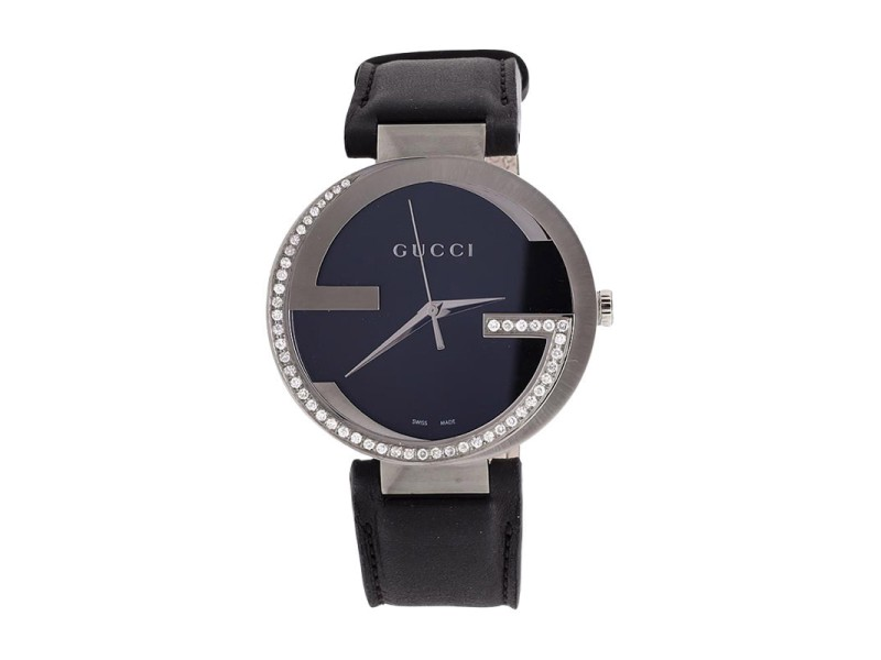 Gucci YA133205 Interlocking GG Diamond 1.5ct  Custom XL  Black Mens Watch 42mm