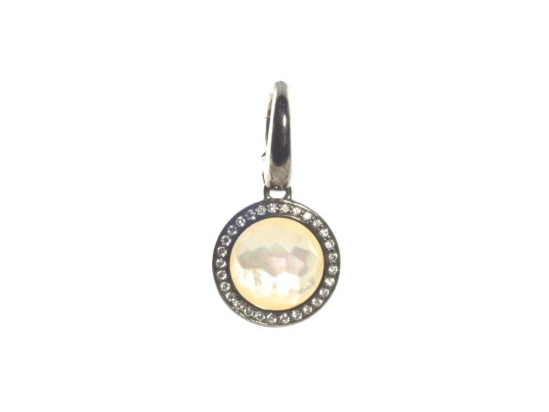 Ippolita Black Sterling Silver Mother of Pearl Diamond Lollipop Charm Pendant