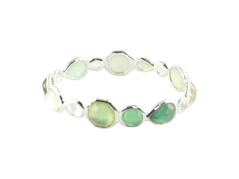 Ippolita Sterling Silver Mother of Pearl and Green Quartz Belize Mini Hero Bangle