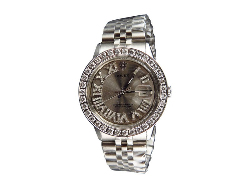 Rolex Mens Stainless Steel Datejust Jubilee 36mm with Roman Number 3.5 Ct Vintage Watch
