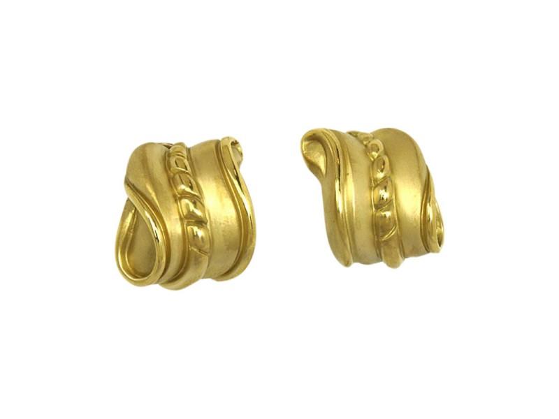 Kieselstein Cord 18k Yellow Gold Swirl Design Huggie Earrings