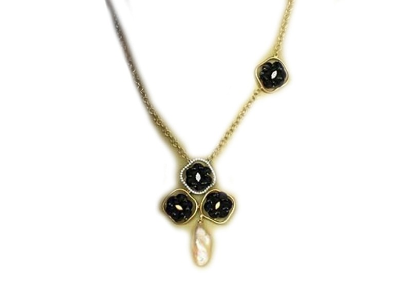 18K Yellow Gold Diamond Black Onyx & Freshwater Pearl Floral Design Necklace