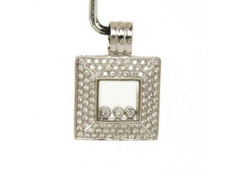 18K White Gold Floating Diamond Design Pendant