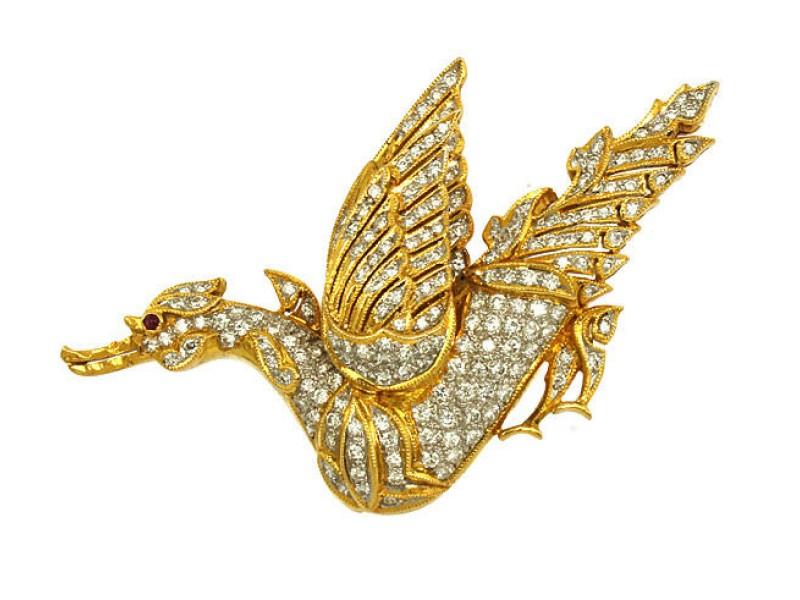 18K Yellow Gold Diamonds & Ruby Bird Brooch/Pin