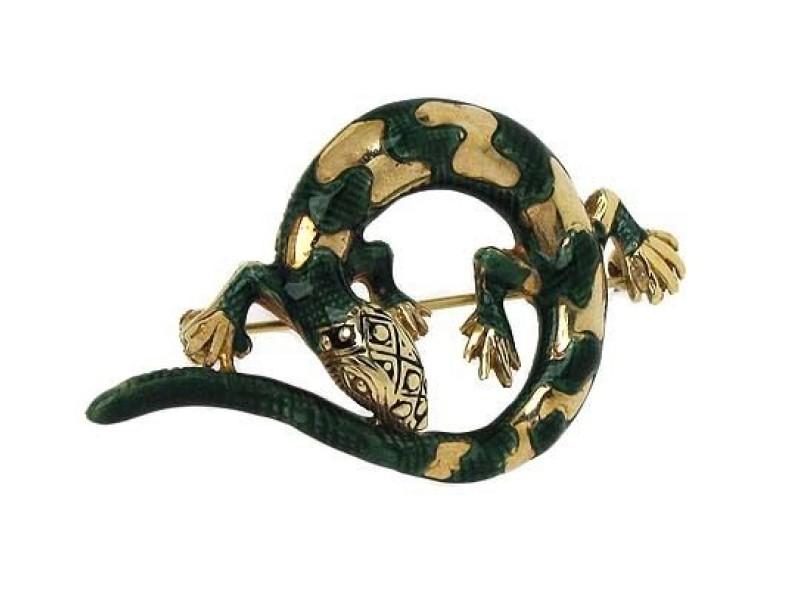 14K Yellow Gold & Green Enamel 3D Lizard Brooch Pin