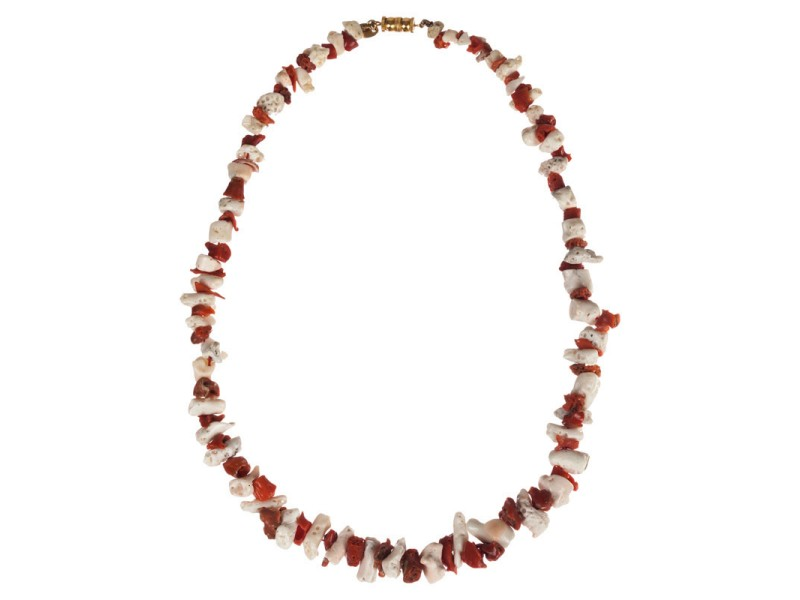 Les Bernard Red and White Mediterranean Nugget Coral Necklace