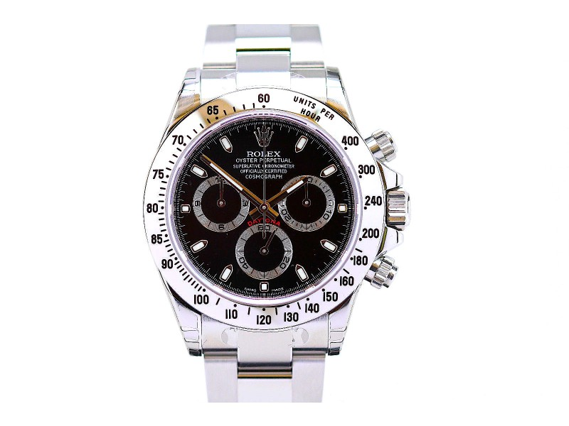 Rolex Daytona Stainless Steel Chronograph Watch 116520 Black Dial Unworn