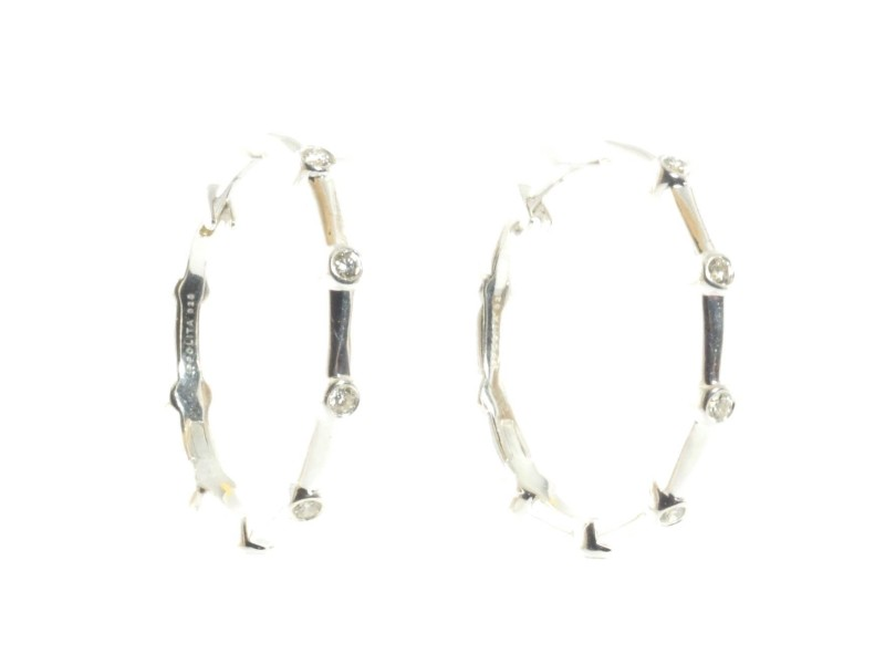 Ippolita Silver Diamond Hoop .925 Sterling Glamazon Hinge Earrings