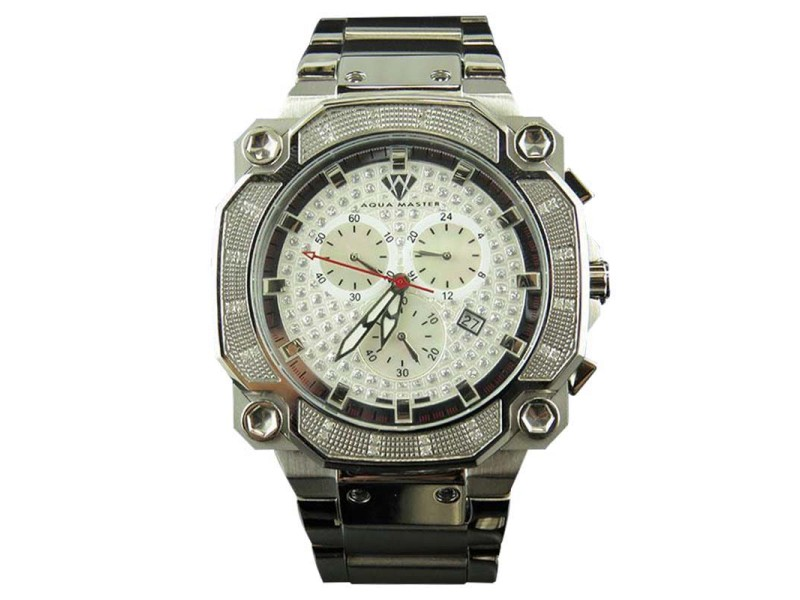 Aqua Master Octagon Stainless Steel Chrono 0.32ct Diamond Quartz Watch