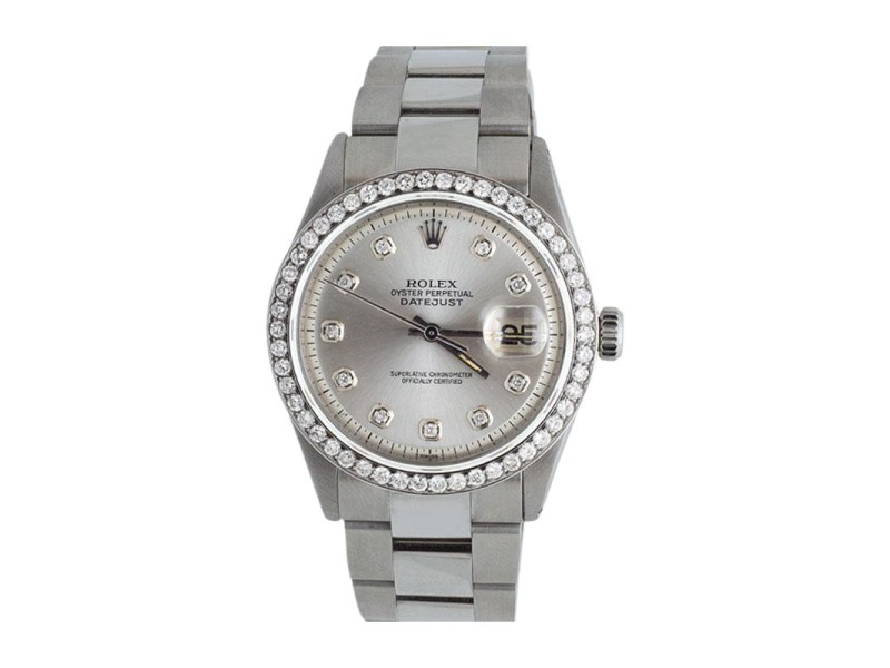 Rolex Datejust Oyster Silver Dial Stainless Steel 2.5ct Diamond Mens 37mm Watch