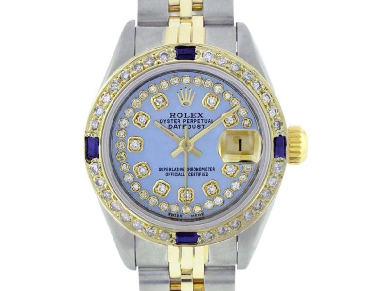 Rolex Datejust 69173 Stainless Steel & 18K Yellow Gold Blue MOP Diamond/ Sapphire Dial & Bezel Womens Watch