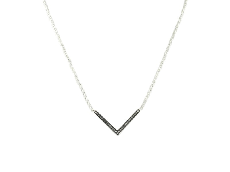 "Ippolita Sterling Silver 0.11 Ct Diamond ""V"" Stella Pendant Necklace"
