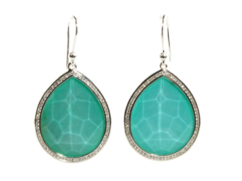 Ippolita Sterling Silver Turquoise and 0.58 Ct Diamond Teardrop Earrings