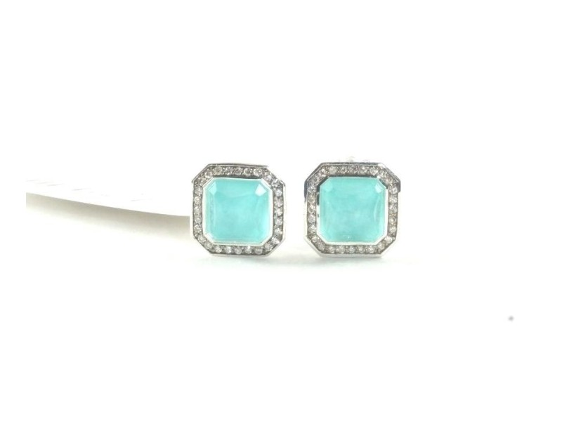 Ippolita Sterling Silver with Turquoise and 0.22ctw Diamond Rectangle Stud Earrings