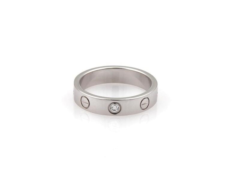 b504b1717ac Cartier 18K White Gold 1 Diamond Mini Love Band Ring Size 4.5 ...