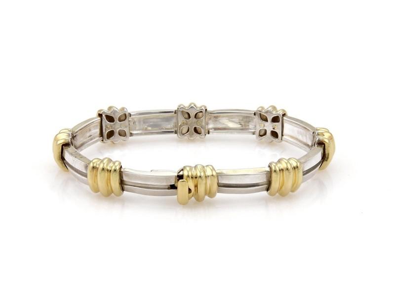 137fe392a Tiffany & Co. Atlas 925 Sterling Silver & 18K Yellow Gold Vintage Grooved  Link Bracelet