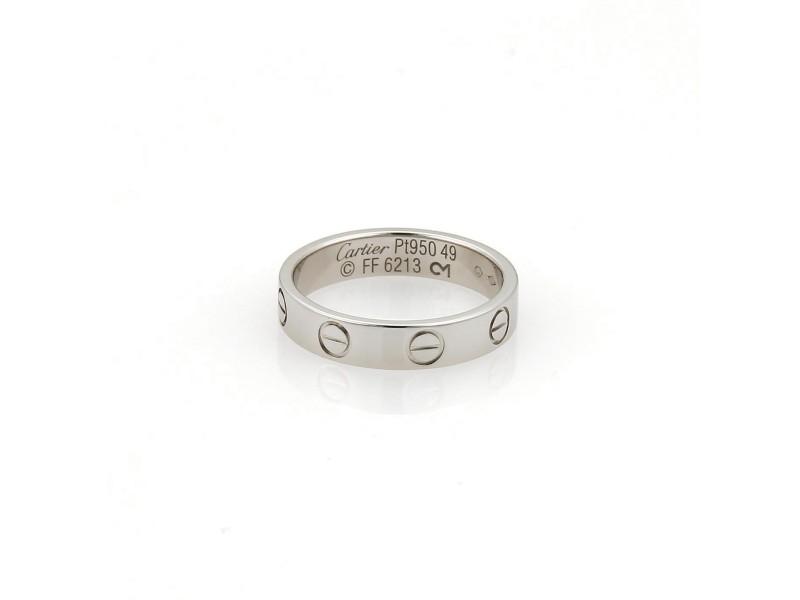 Cartier Mini Love Platinum Band Ring Size 5